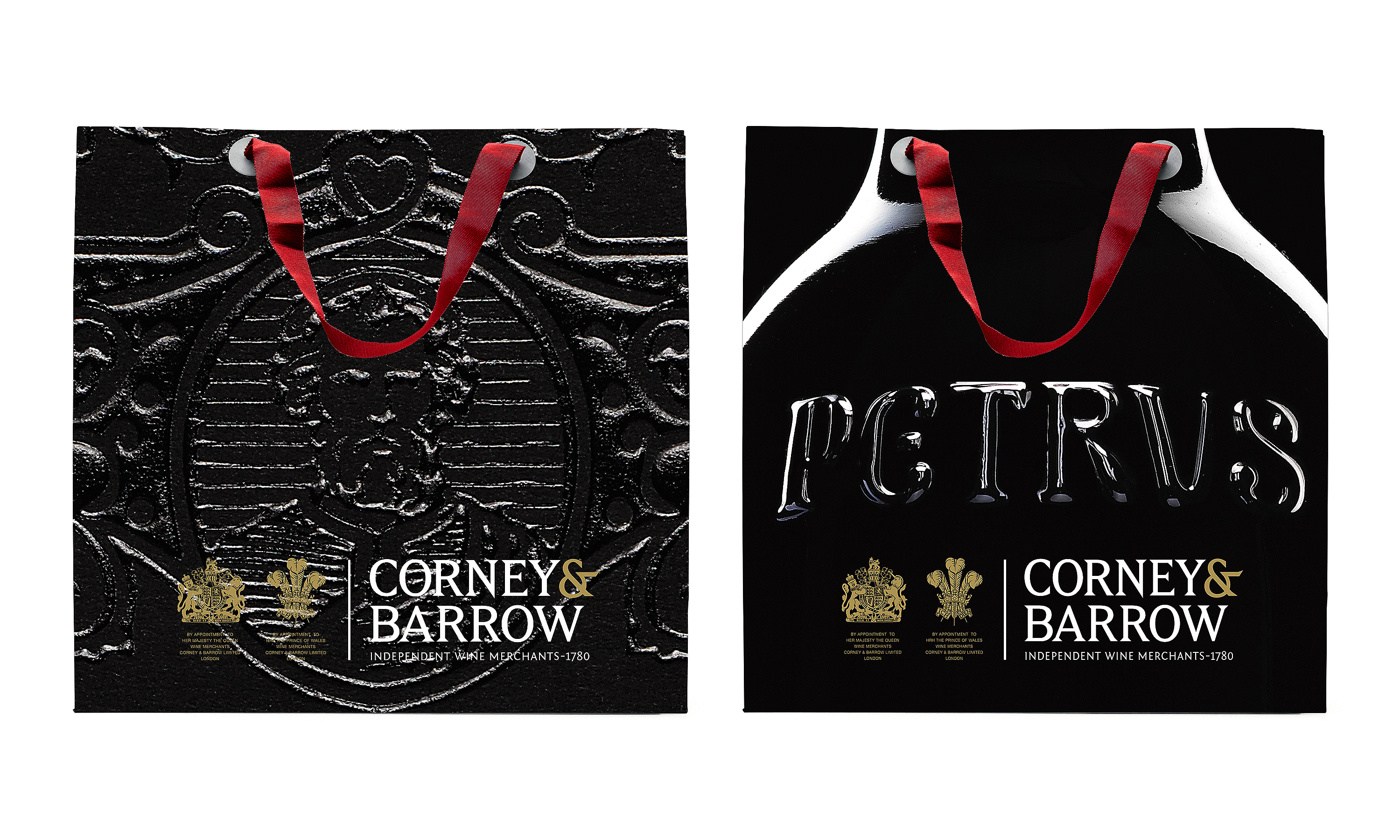 By Dana Robertson Creative Director and Founder of Neon. Corney & Barrow promotional bags featuring Pétrus, part of the Corney & Barrow brand identity and visual language refresh designed to help position Corney & Barrow as the leading UK and international premium independent Wine Merchants. – Idea, art direction and design by Neon Design & Branding Consultancy www.neon-creative.com