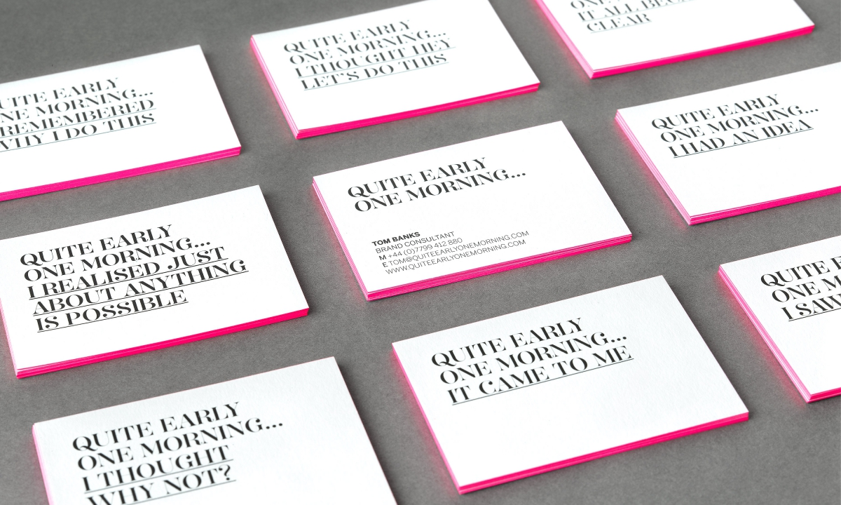 Morning business cards gallery free business cards quite early one morning naming and brand identity by neon quite early one morning business cards magicingreecefo Image collections