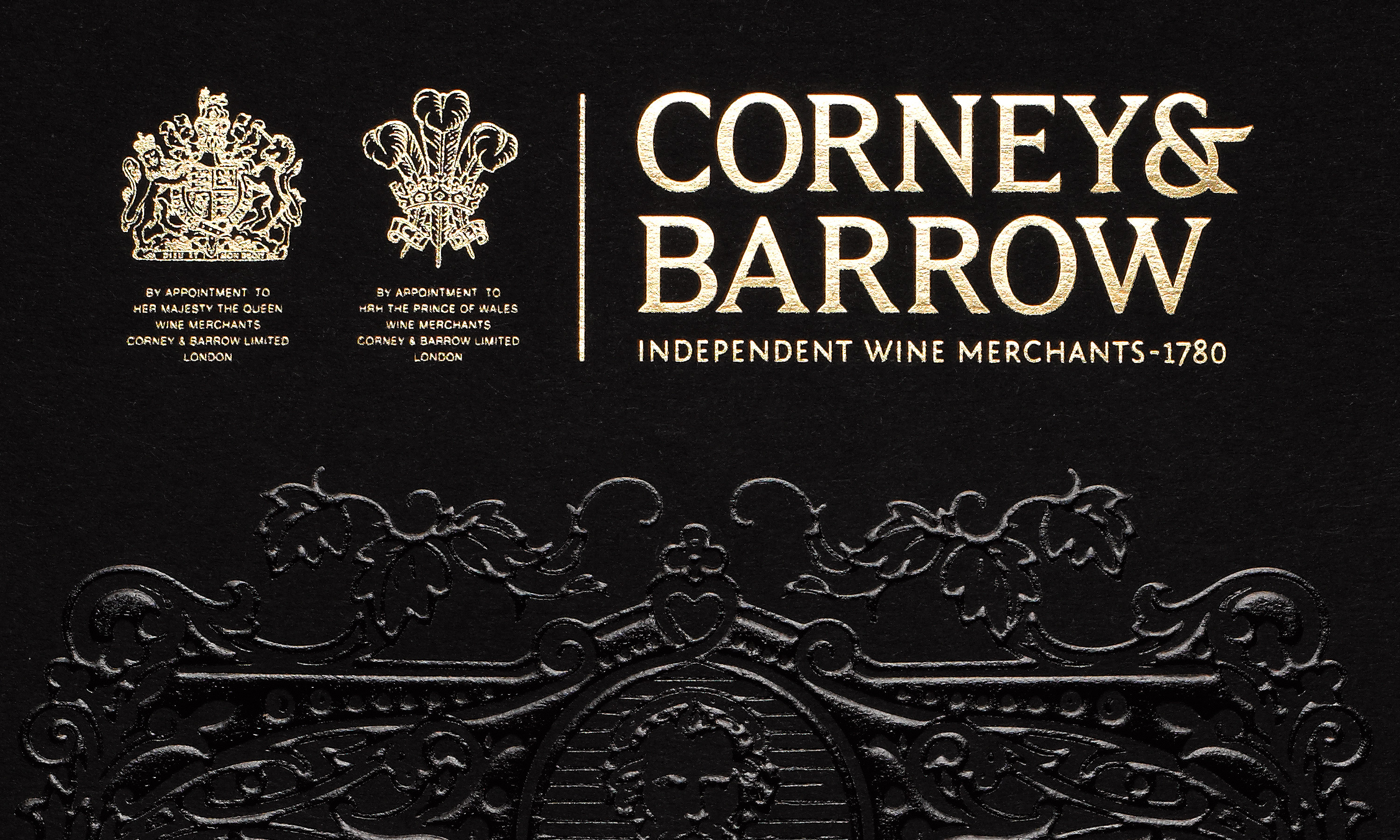 By Dana Robertson Creative Director and Founder of Neon. Corney & Barrow-Petrus brochure black foil blocking cover detail. Pétrus is, to quote Corney & Barrow, one of