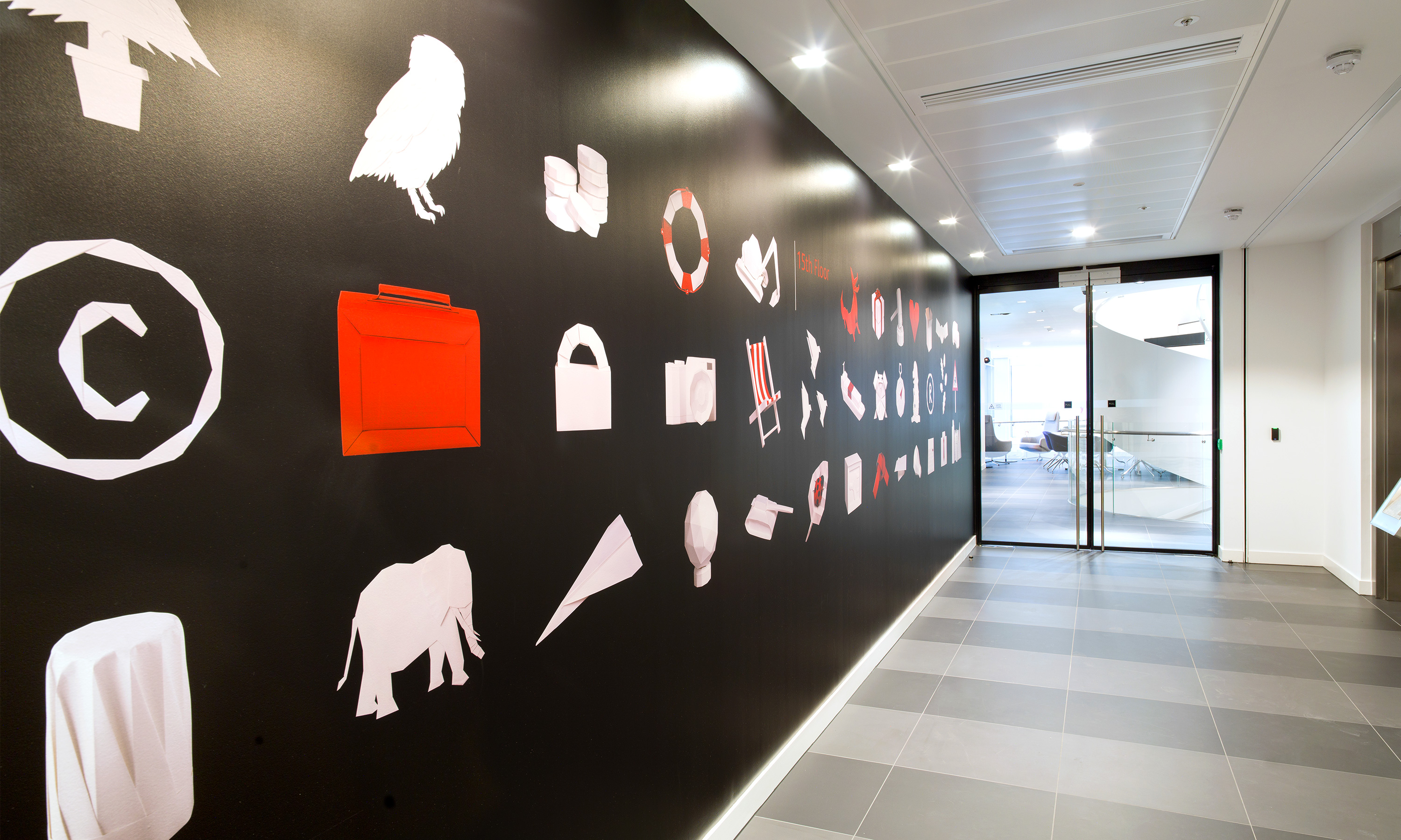 Branding by Neon - Nabarro Law Firm - Law sector branding - 125 London Wall Lift Lobby - origami gallery graphics designed by Dana Robertson