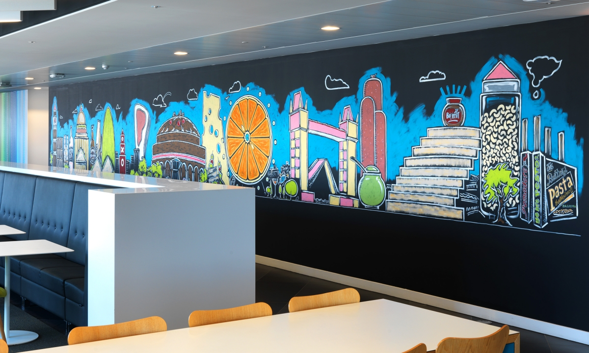 nabarro llp 125 london wall canteen welcome wall 125 london wall canteen wall sweet savoury london skyline details