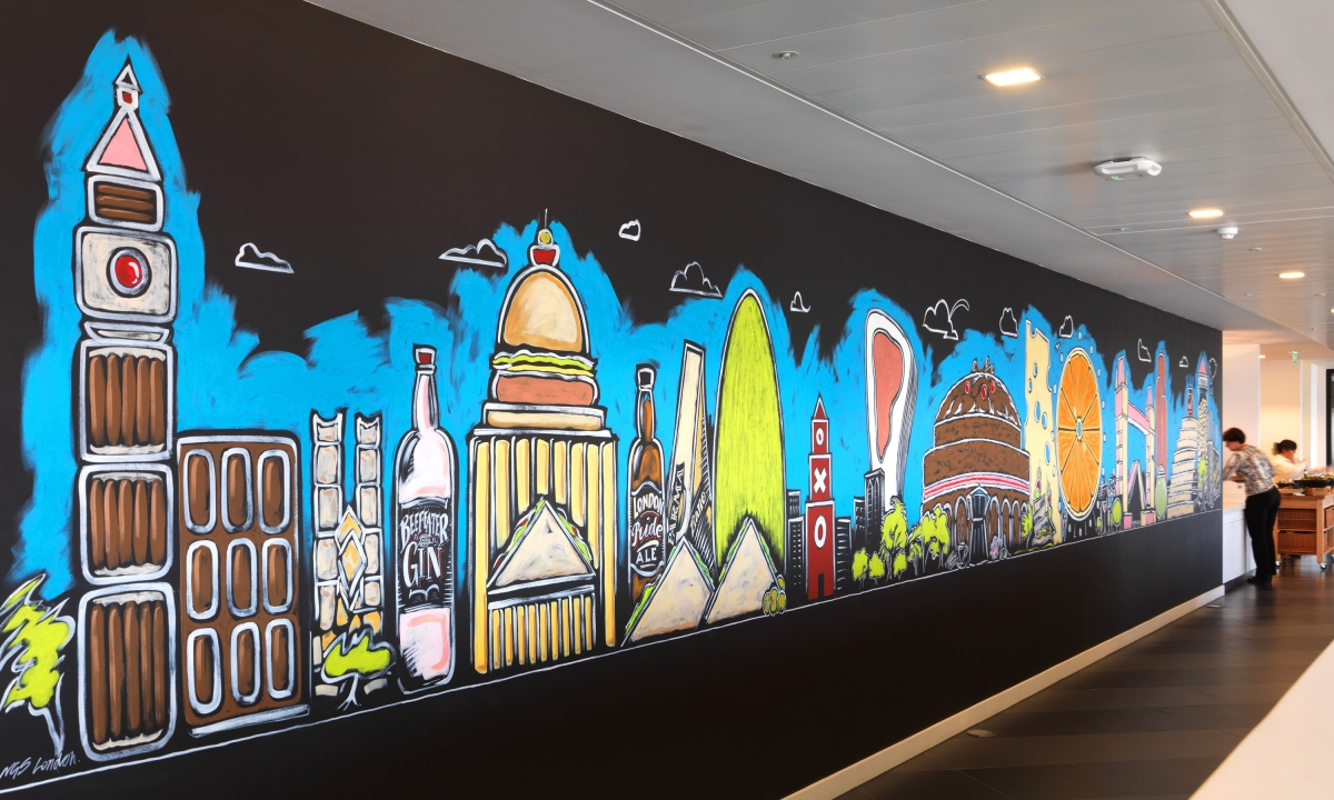 nabarro llp 125 london wall canteen welcome wall 125 london wall canteen wall sweet savoury london skyline hand rendering highlights