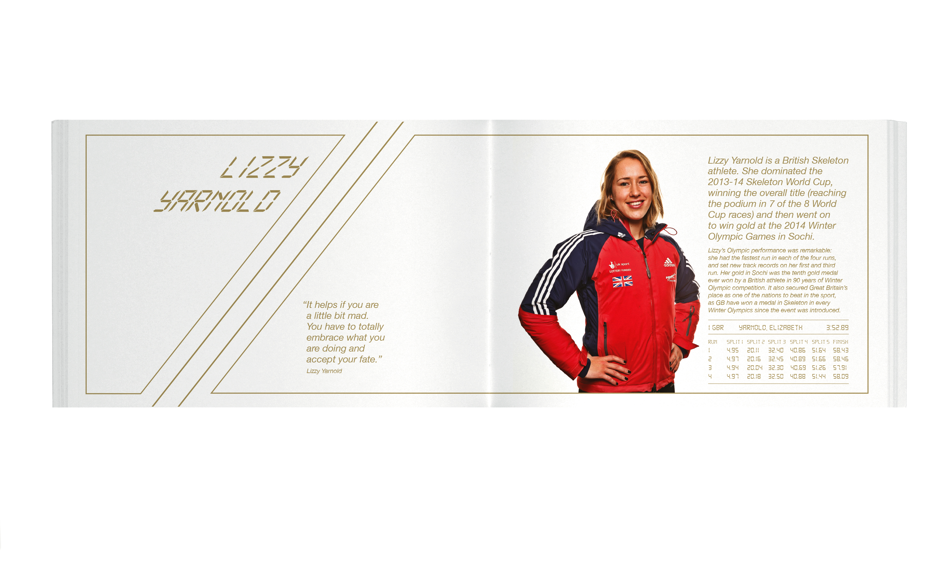 The opening spread of the Lizzy Yarnold story by Neon Design & Branding Consultancy www.neon-creative.com