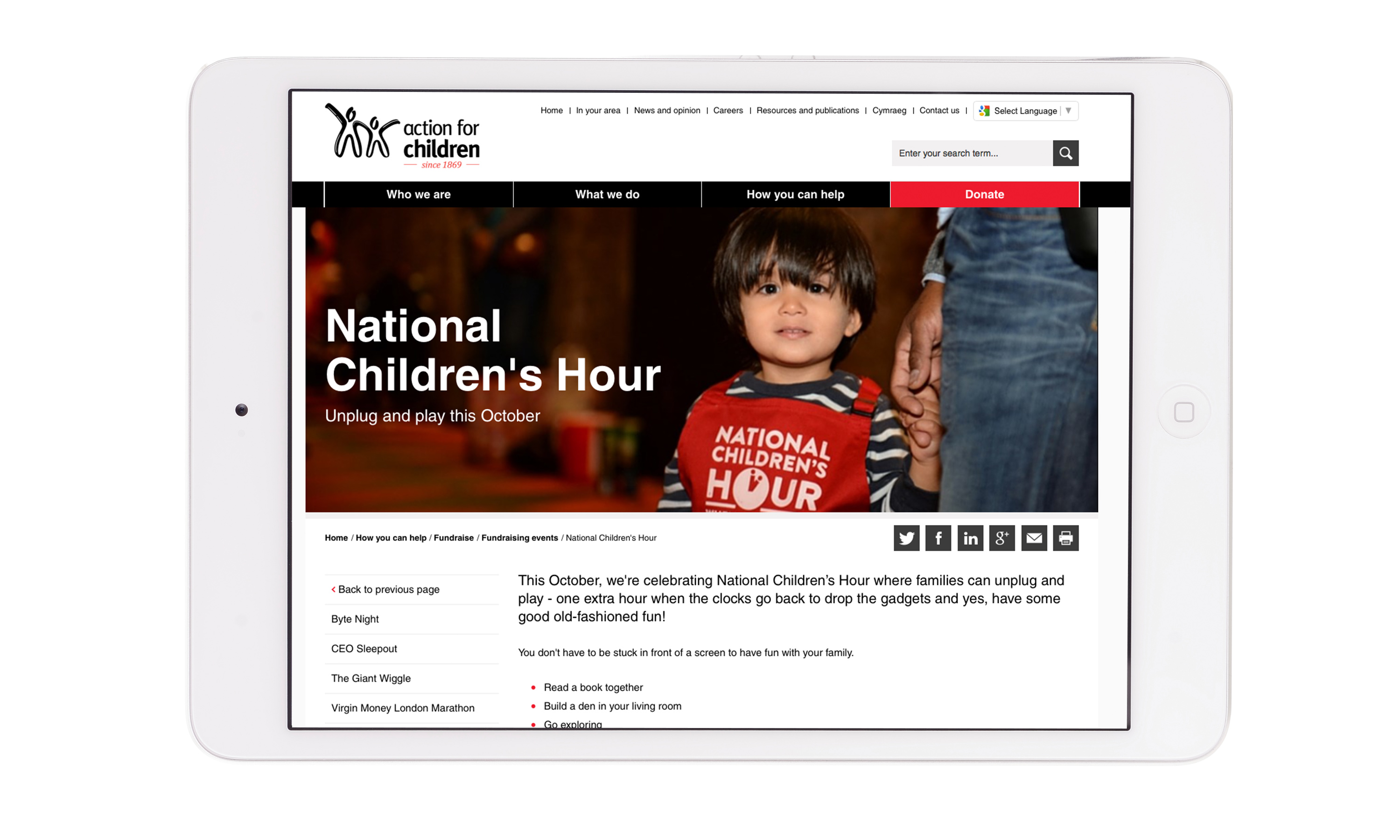 Brand campaign by Neon - designed by Dana Robertson - Charity sector branding - Action for children - National Children's Hour campaign - website detail featuring child with an apron with National Children's Hour logo on it