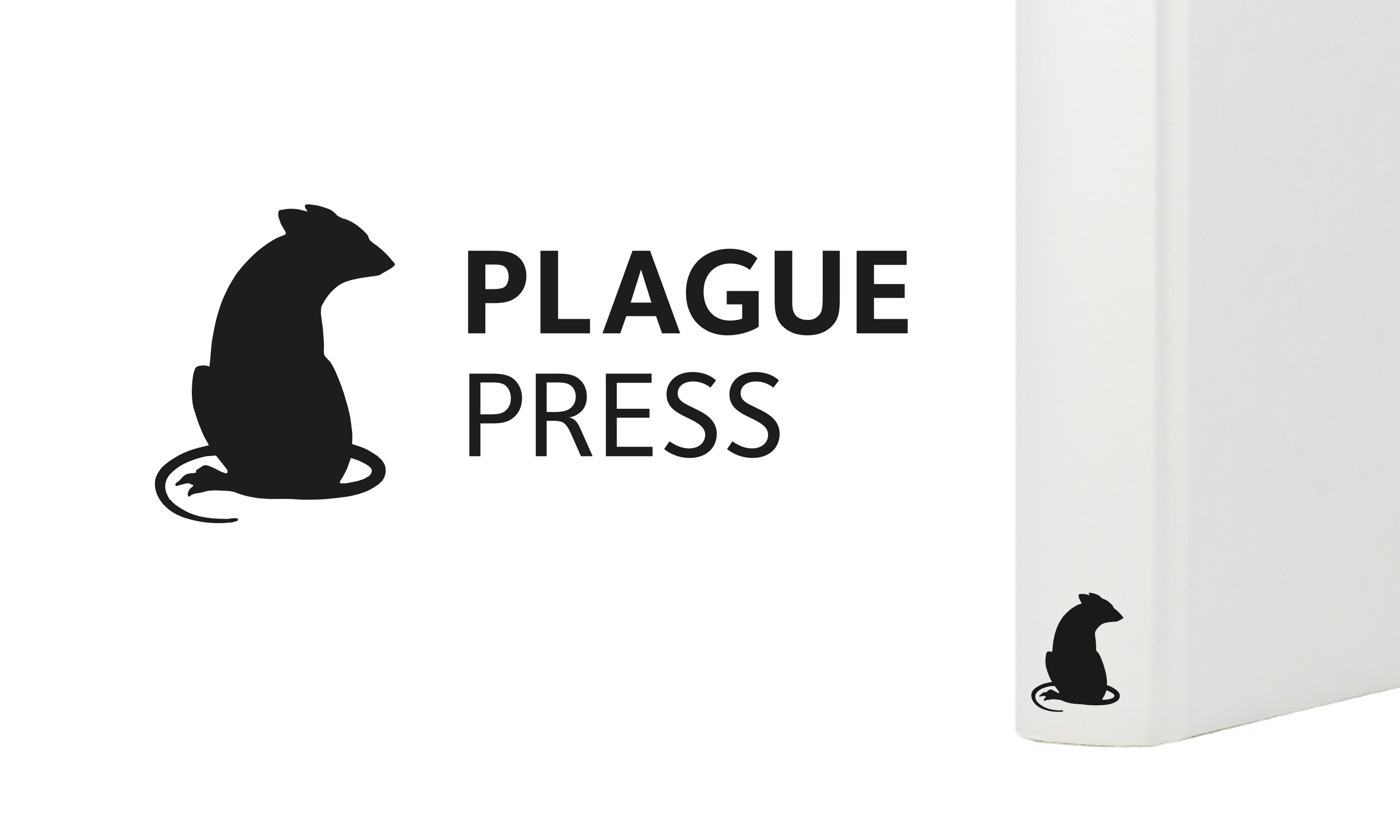 Plague Press logo by Neon, colophon on book spine, designed by Dana Robertson