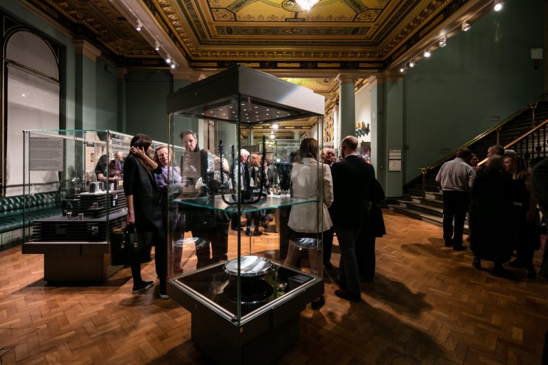 Silver Speaks exhibition close up at the V&A branding by Neon
