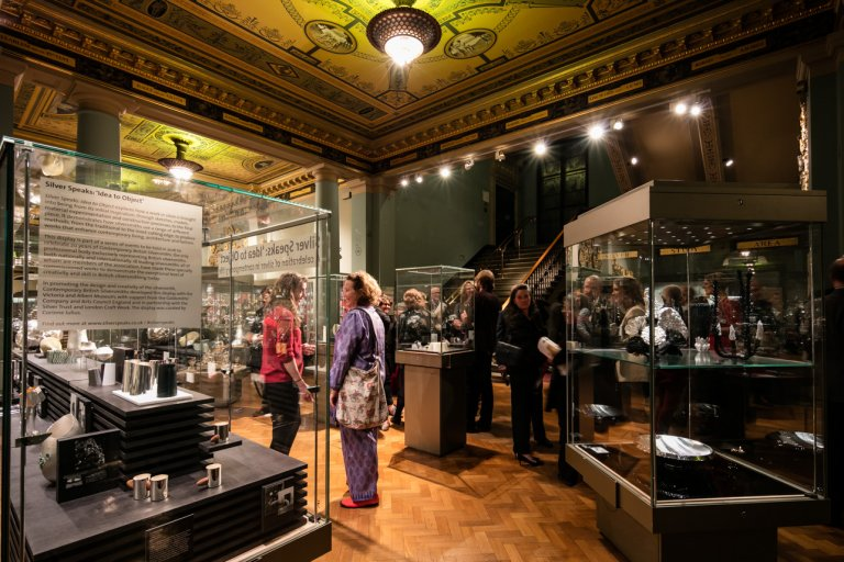 Silver Speaks exhibition launch night at the V&A branding by Neon