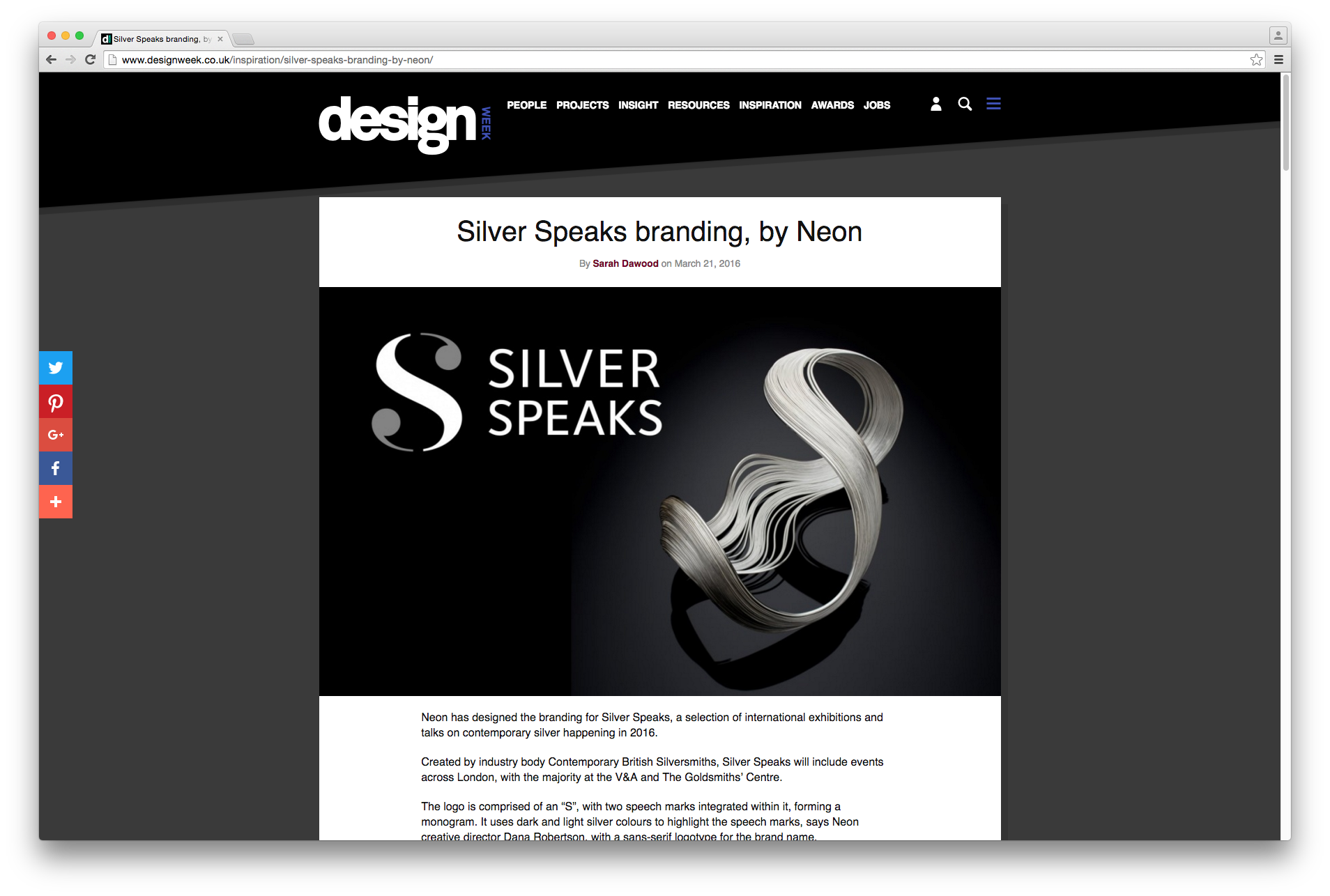 Branding by Neon - designed by Dana Robertson - Silver Speaks exhibition - features in Design Week magazine