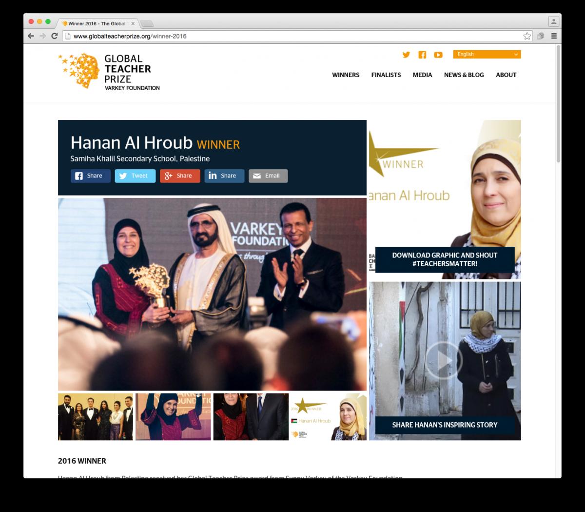 Global Teacher Prize Winner Hanan Al Hroub. Global Teacher prize branding by Brandcap & Neon