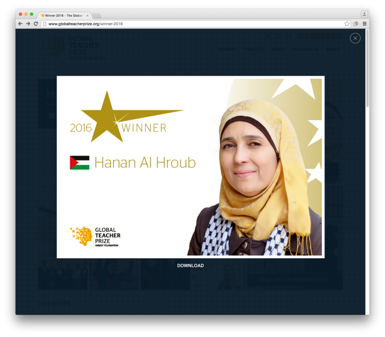 Hanan Al Hroub from Palestine received her Global Teacher Prize award from Sunny Varkey of the Varkey Foundation.