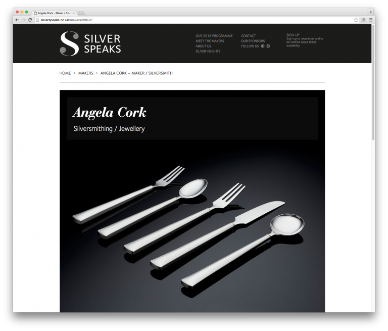 Silver Speaks Makers page Angela Clark - website and branding by Neon