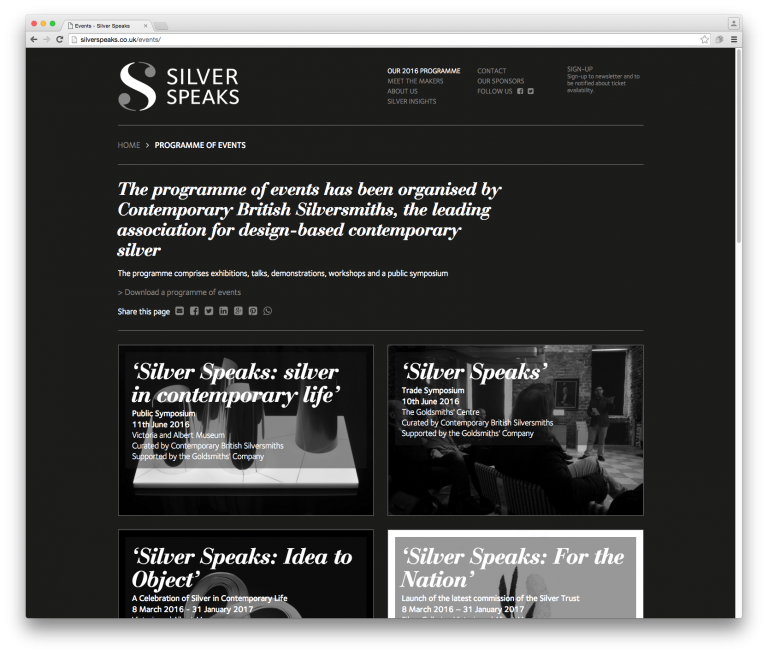 Silver Speaks Programme of events page - website and branding by Neon