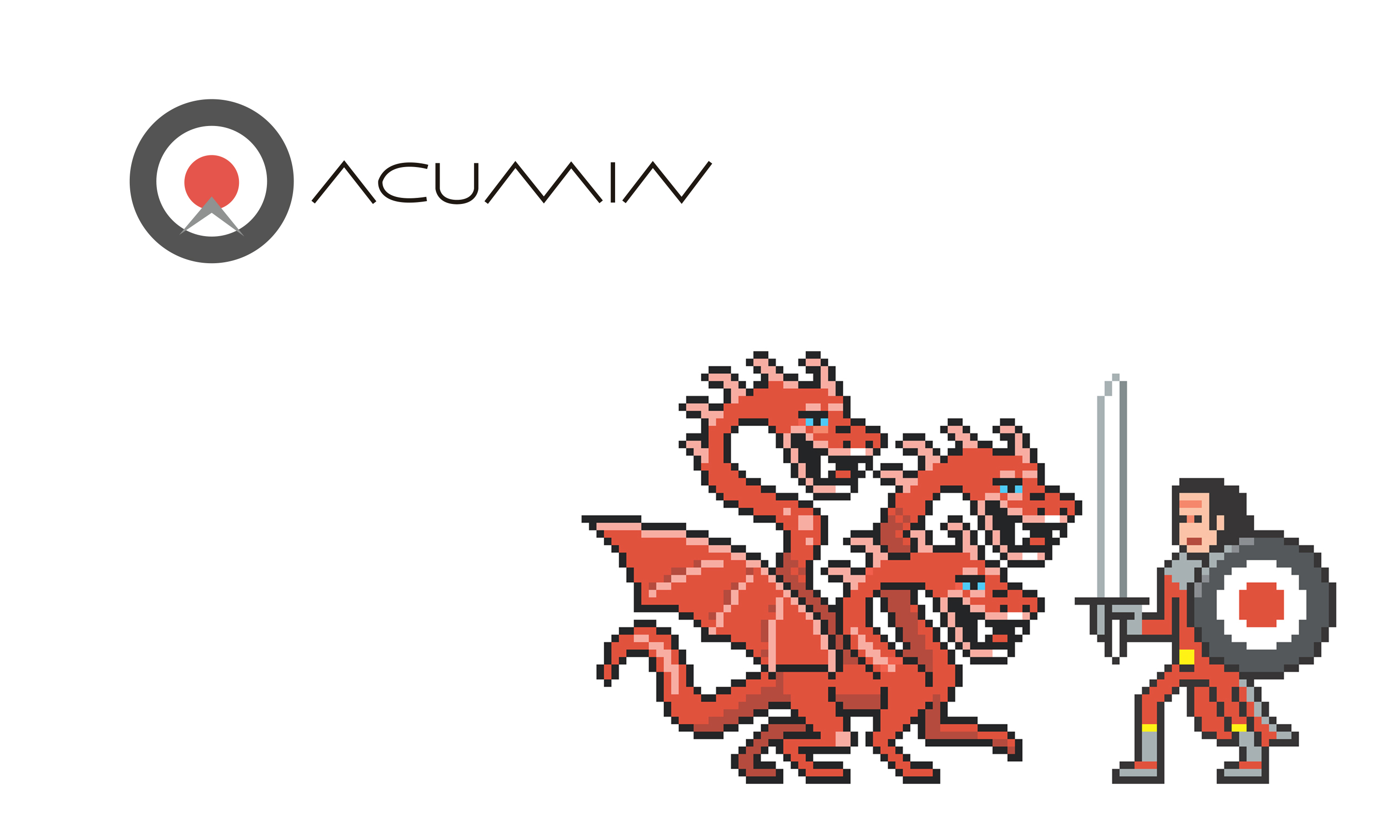 Pixel dragon and hero with Acumin logo roundel as shield by Neon