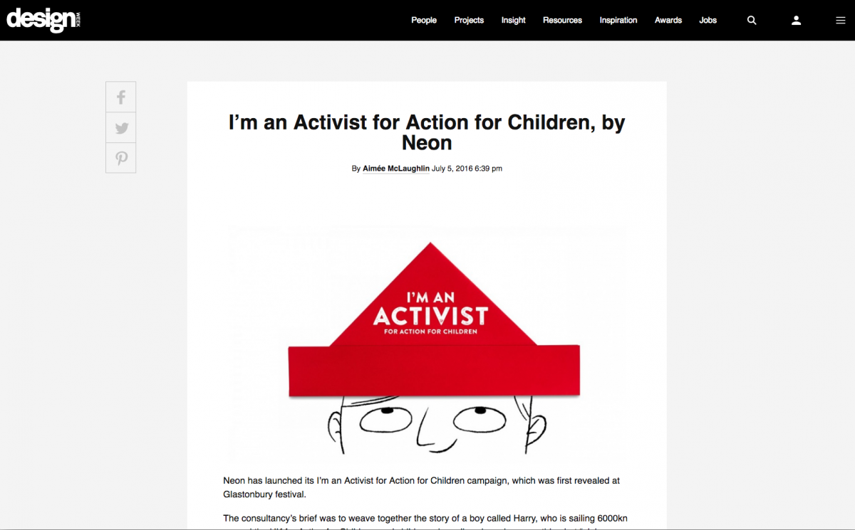 Neon's work for Action for Children is featured on Design Weeks website in the Inspiration section