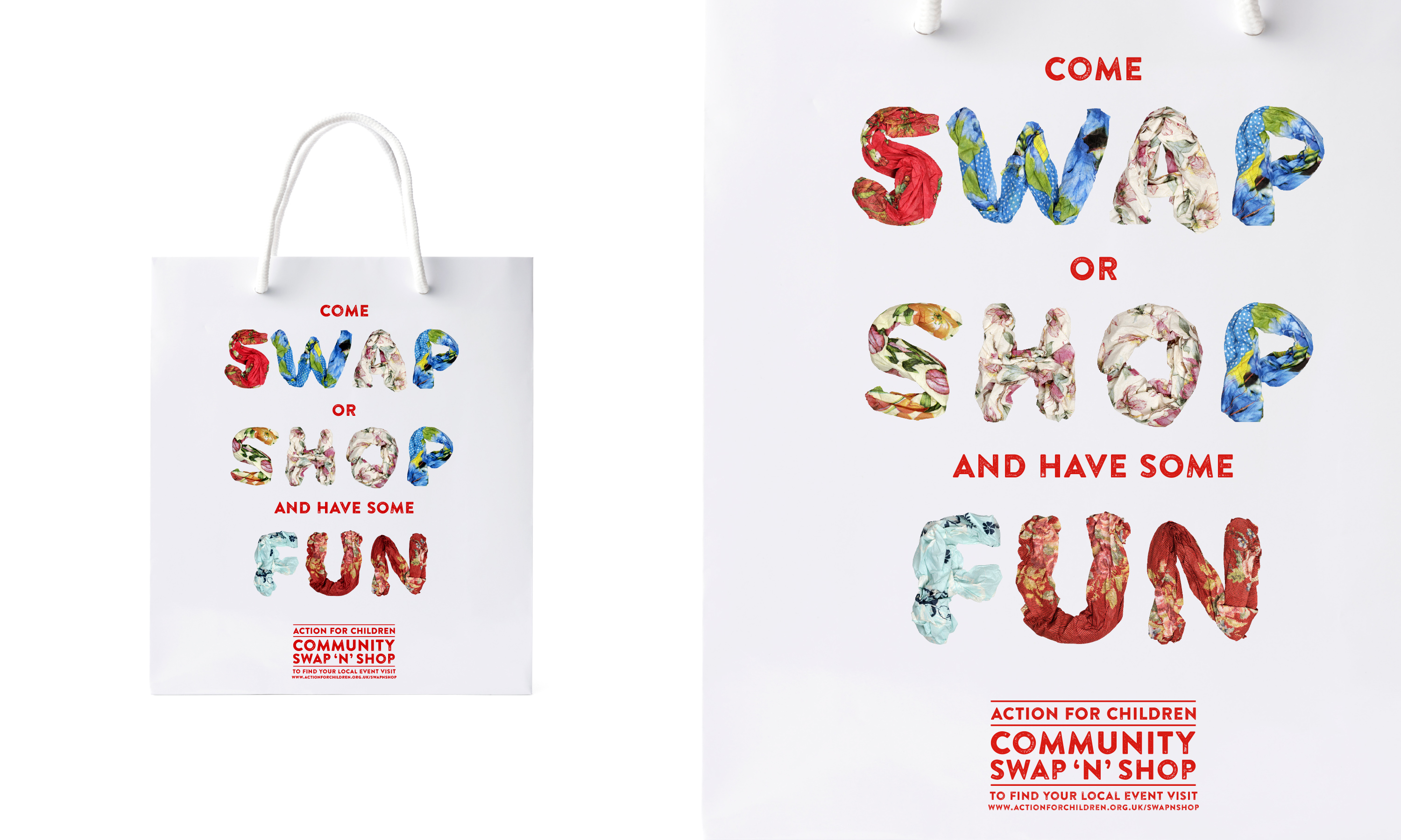 Brand campaign and advertising by Neon - Charity sector branding - Action for children - Swap and Shop - Swap and shop shopping bag detail designed by Dana Robertson