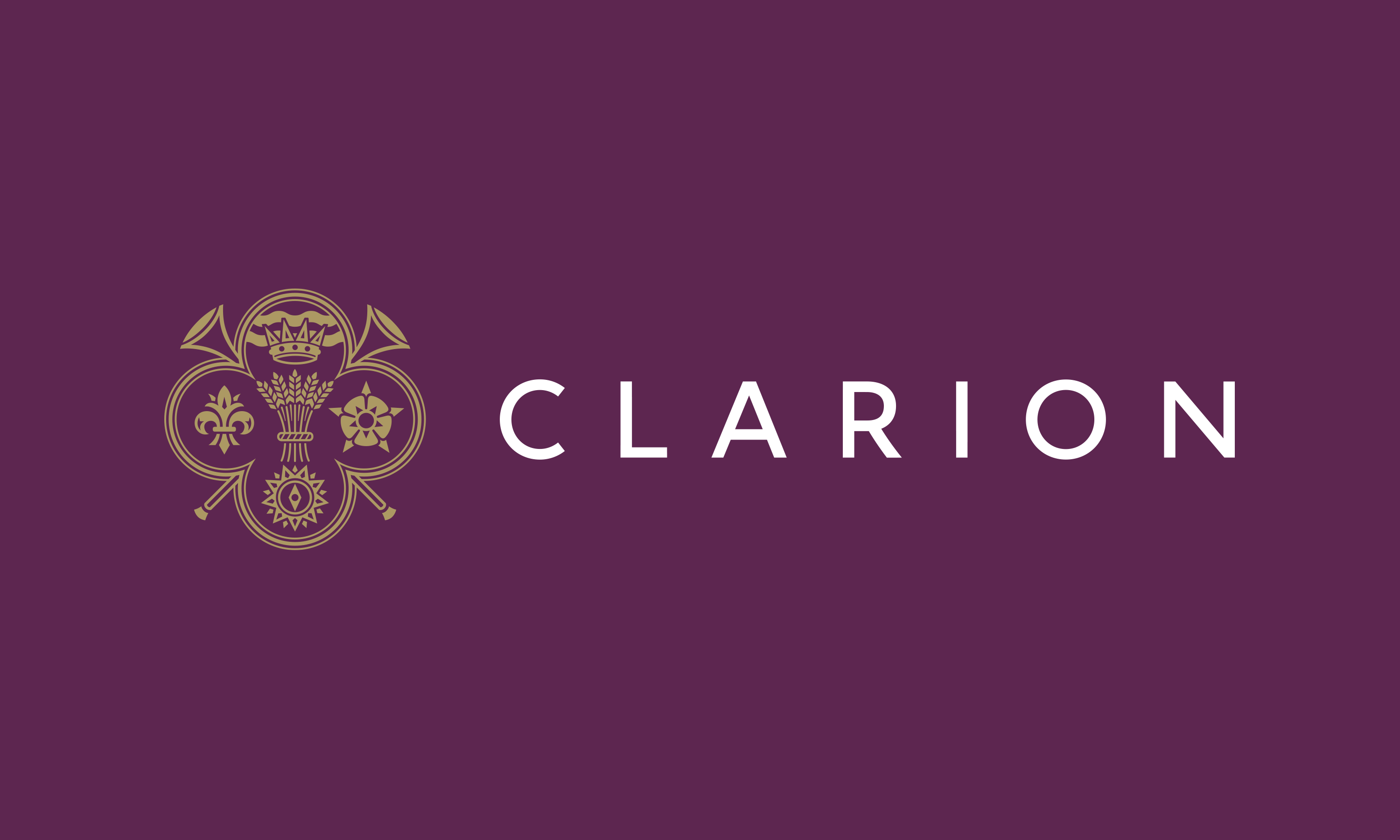Branding by Neon - Clarion Wealth Management branding - Financial services branding - Clarion logo on royal purple designed by Dana Robertson