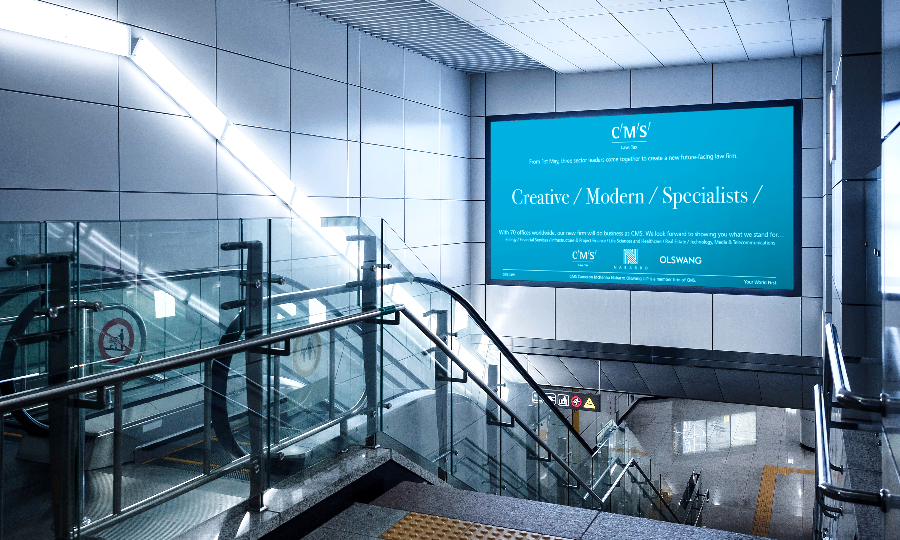 Branding and advertising by Neon - CMS London Law Firm - Law sector branding - Creative Modern Specialist London City Airport advertising designed by Dana Robertson