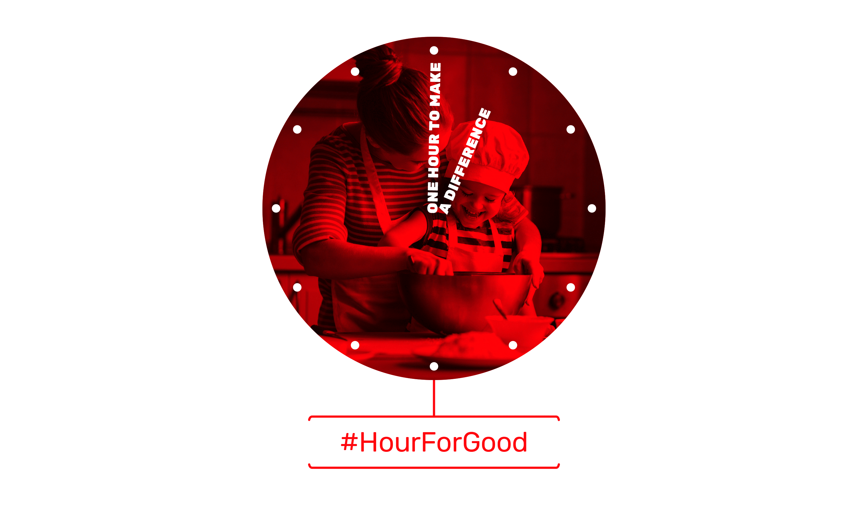 Brand campaign by Neon - designed by Dana Robertson - Charity sector branding - Action for children - An hour for good graphic cooking together