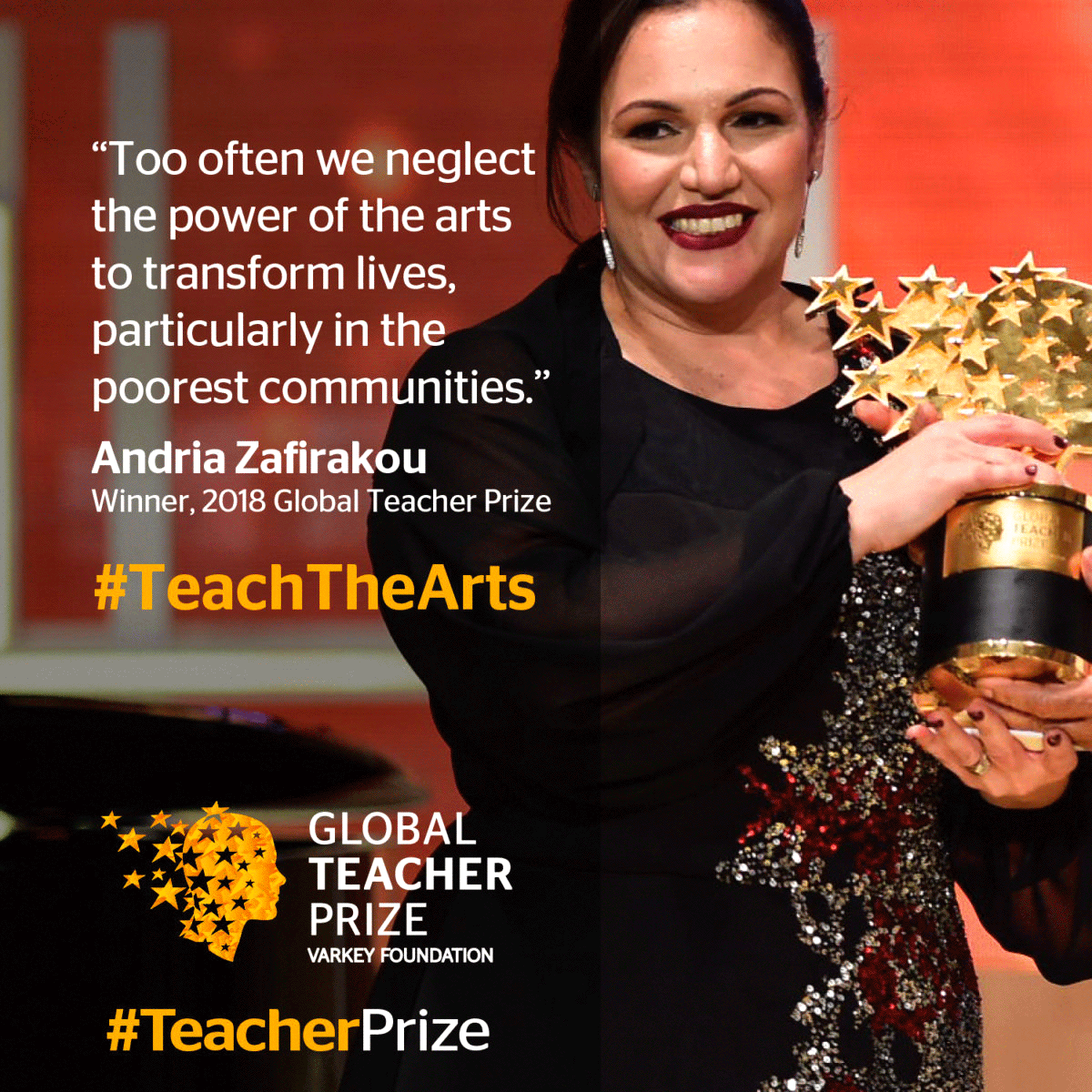 Andria Zafirakou from Alperton Community School in the UK won the 2018 Global Teacher Prize image-credit-The-Varkey-Foundation