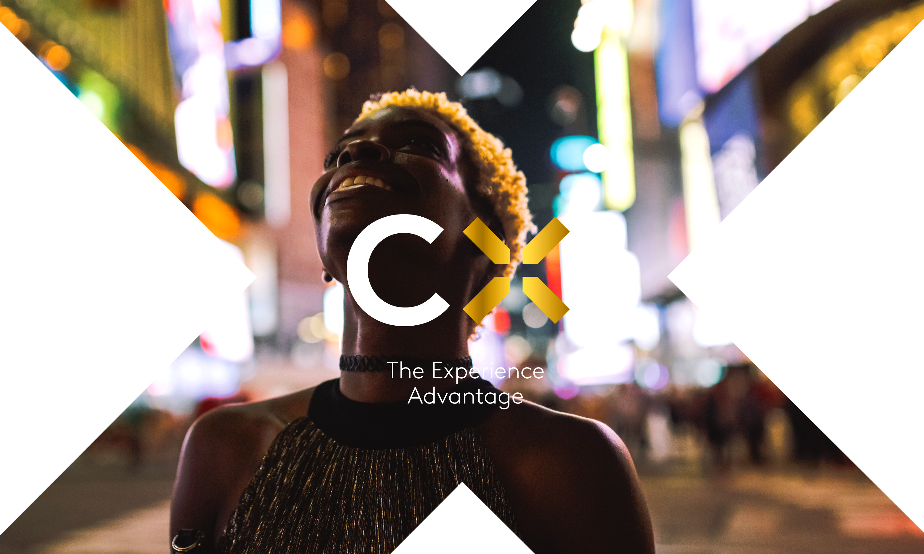 Branding by Neon Kantar CX+ brand mark with strapline over image NYC image with girl looking up
