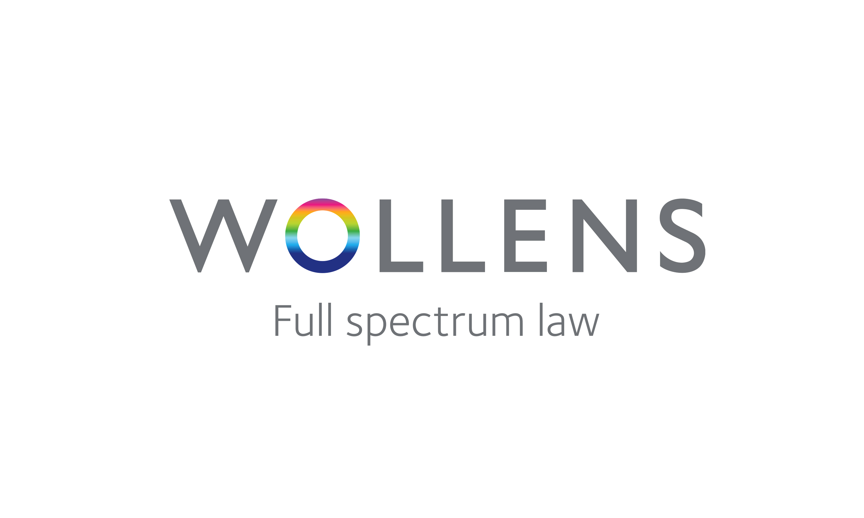 Branding by Neon Wollens Solicitors Devon, new Wollens brand mark and strapline Full spectrum Law designed by Dana Robertson