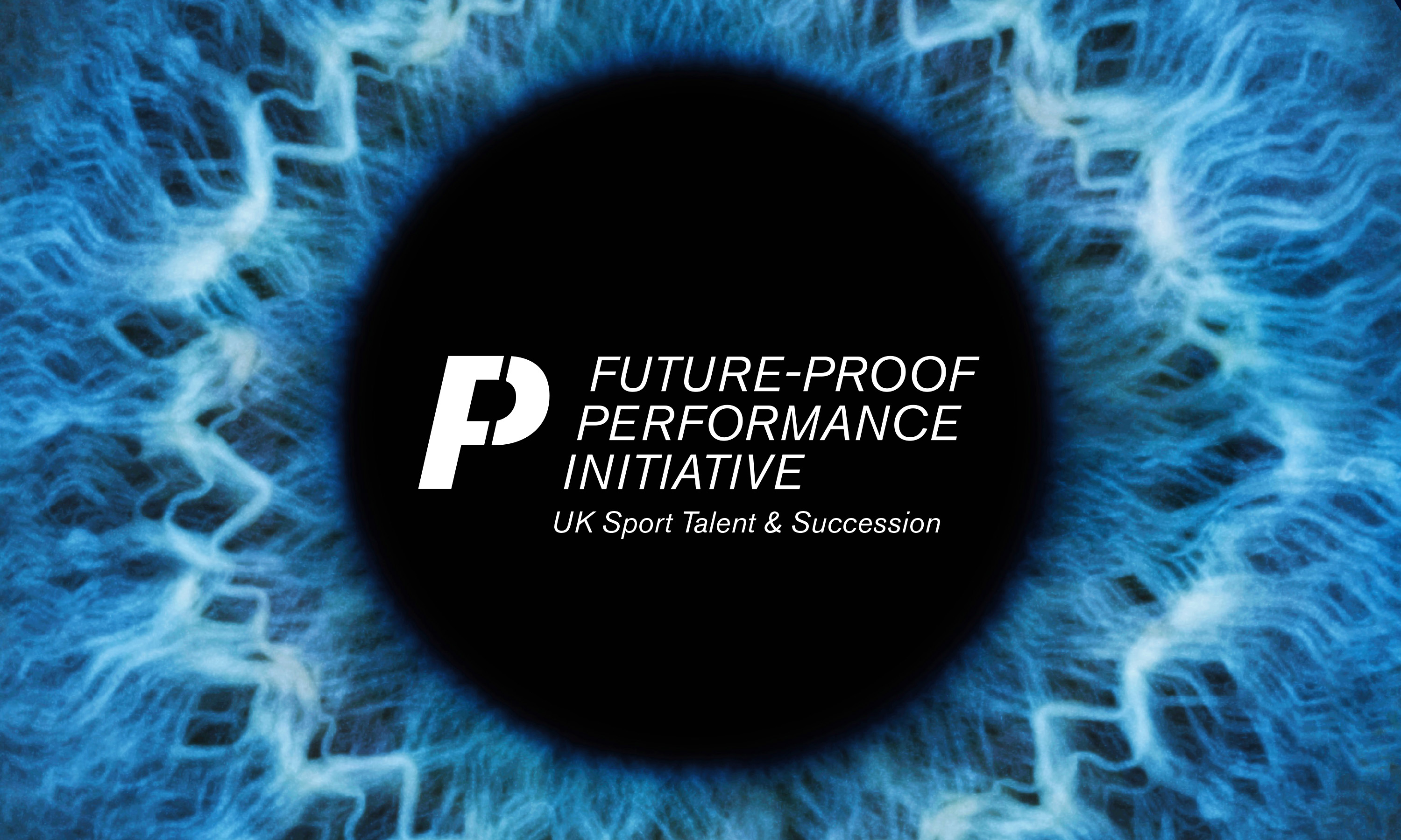 UK Sport Future-Proof Performance Initiative logo on blue eye background designed by Dana Robertson