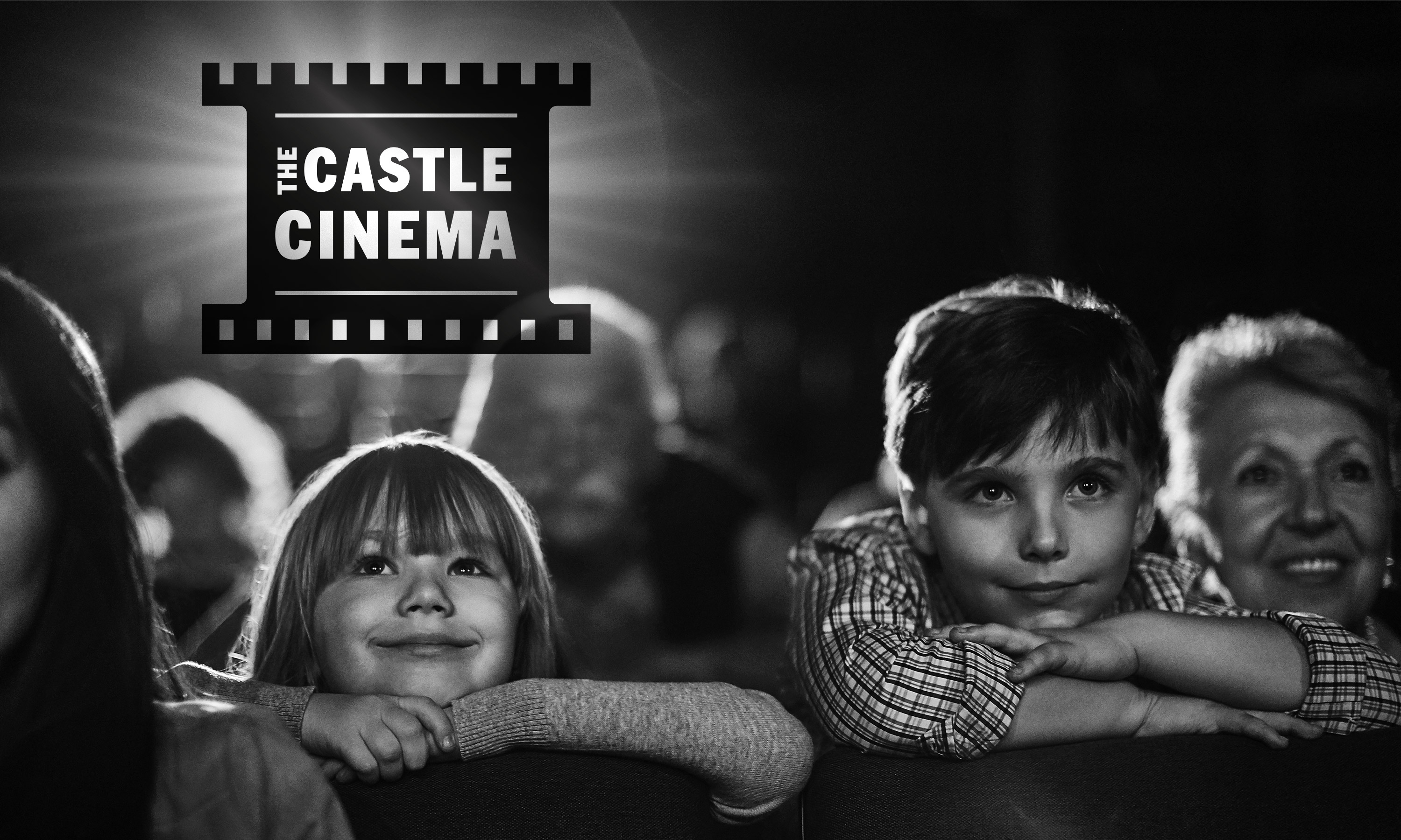 Branding by Neon Castle Cinema logo with audience designed by Dana Robertson